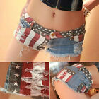 Sexy Women US Flag Mini Shorts Jeans Hot Pants Denim Low Waist Stars Stripes