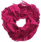 Ladies Pink Mix Knitted Ruffle Scarf with Tassels