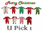CHRISTMAS SLEEP PLAY OUTFIT FOOTIE SLEEPER FOOTED KIDS CHILDRENS BABY BOYS GIRLS