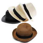 Fashion 1Pcs Unisex Fedora Trilby Gangster Cap Summer Beach Sun Straw Panama Hat