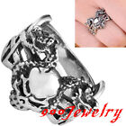 316L Stainless Steel 2 Dragons Wrap Skull Demon Head Finger Ring Men US6-9