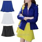 Hot Womens High Waist Short Plain Flared Pleated Sheer Skater Fippy Mini Skirts