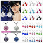 2PCS REAL CZ Crystal Shamballa 925Silver Necklace Chain Silver Earrings Set +box