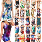 New Women's Galaxy Costume Bodycon Sleeveless One-Piece Tank Cocktail Vest Dress