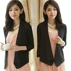 New 3/4 Sleeve Shawl Lapel Women's Cardigan Top Suit Blazer Thin Without Buttons