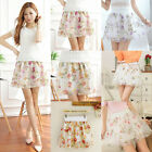 Chic Lady Floral Chiffon Sheer Short Skirt Elastic High Waist Mini Dress Summer