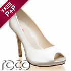 Ladies White Designer Rainbow Club Peep Toe Heel Wedding Bridesmaid Bridal Shoes