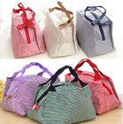 Korean Stripe Trapezoidal Insulated Picnic Lunch Bento Box Bag Tote Storage Bag