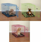 fashion colored Crate Dog cat pet pen wire cage w/ handle divider in 6 sizes