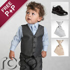 Gray Suit Page Boy Suits Baby Black Shoes Elasticated Tie