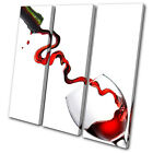 Food Kitchen Wine Glass Pouring TREBLE CANVAS WALL ART Picture Print VA