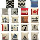 Pillow Case Cotton Linen Cushion Cover Square Home Car Throw Sofa Stripe Natural