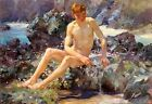 Nude on the Rocks by Henry Scott Tuke (Classic English Impressionist Art Print)