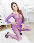 Fit Wholesale Sexy lingerie Fishnet Open crotch Body stocking underwear sleeved