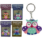SPECIAL OWL KEYRING GIFT CHARM KEY RING CHAIN SET MESSAGE PRESENT NEW GOOD LUCK
