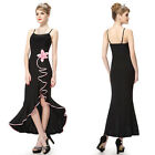 Formal Gown Evening Party Dress With Mesh And Flowe 80679