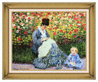 Framed Claude Monet Camille and Child in the Artist's Garden at Argenteuil Repro