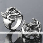 Stainless Steel Mens Punk Biker Live To Ride Eagle Finger Ring US 9/10/11/12 Hot