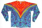 Adult Long Sleeve TIE DYE Fire V Blotter art T Shirt art sm med lg xl hippie