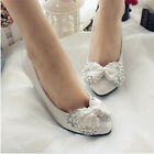 White Handmade Diamond Pearl Butterfly Knot Flat Bride Bridesmaid Wedding Shoes