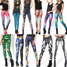 Top Women Galaxy Variety Collections Tetris Alice Printed Leggings Shinny Pants