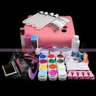36W Pink Lamp 12 Bottles UV Gel Cuticle Glue Cutter Buffer Tools Nail Art Kits