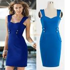 Womens New Vintage Rockabilly Party Strap Buckle Tunic Bodycon Pencil Dress D881