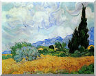 Wheat Field and Cypress Trees Vincent van Gogh Stretched Repro Canvas Art Print