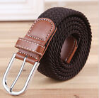 Men  Genuine Premium Leather Golf Wide Elastic Stretch Belt MultiColor UkOD