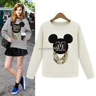 Long Sleeve Cartoon Pullover Sweatshirt Jumper Blouse Tops T-Shirt Womens N4U8