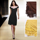 Womens V neck cap sleeve Asymmetric Tiered Cocktail party Knee Length Day Dress