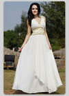 Designer Chiffon V Neck Pleated Wedding Party Evening Occasion Formal Maxi Dress