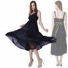 Womens V-Neck Tiered Chiffon Zip Floaty Party Swing Slip Dress Black Sundress