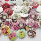 E635 New 10/50/100/500pcs Cute Owl Wood Buttons 20mm Sewing Craft Mix Lots