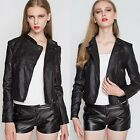 Cool PU Leather Women's Motorcycle Biker Jacket Coat Outwear Zipper Press Stud