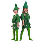 Peter Pan Green Elf Small Med Large Kids Child Costume Tunic Tights Archer Hat