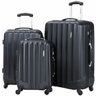 GLOBALWAY 3 Pcs Luggage Travel Set Bag ABS Trolley Suitcase w TSA Lock Black