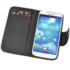 Premium Magnetic Black PU Leather Wallet Card Case Cover for Samsung Galaxy S4