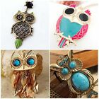 Womens Vintage Rhinestone Owl Pendant Long Chain Necklace Fashion Jewelry Gift