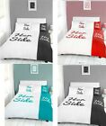 HER SIDE HIS SIDE DUVET QUILT COVER BEDDING SET WITH PILLOWCASES | DOUBLE & KING