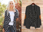 BLACK White (900) STRIPED DRAPED CARDIGAN Jacket Suede Elbow Patch Sweater S M L