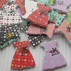 E637 10/50/100/500pcs Girl's Skirts Wood Buttons 32x30mm Sewing Craft Mix Lots
