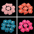10 Chiffon flower Corsages Brooch DIY sewing stick Applique craft decor 4 colors