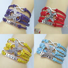 New Fashion DIY Infinity Love Butterfly Leather Charm Bracelet Plated Silver