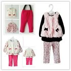 Popular Girl Suits Waistcoat+Shirts+Pants Winter Outfits Sets Kids Clothing - CB