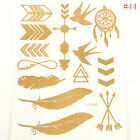 1 Sheet Temporary Metallic Tattoo Gold Silver Black Flash Tattoos Flash Inspired on Rummage