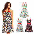 Floral Vintage Cotton 50's Party Rockabilly Flared Pinup Cocktail Dress UK 8-24