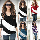Women Loose Casual Blouse T Shirt Tee Striped Batwing Long Sleeve Tops 4 Sizes
