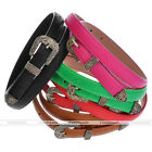 Vintage Flower Cameo Women Girl Thin Skinny Faux Leather Belt Waistband 5 Colors