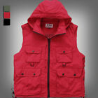 Men's Multi Pockets Fishing Hunting Hooded Vest Travel Outdoor Waistcoat WM0015